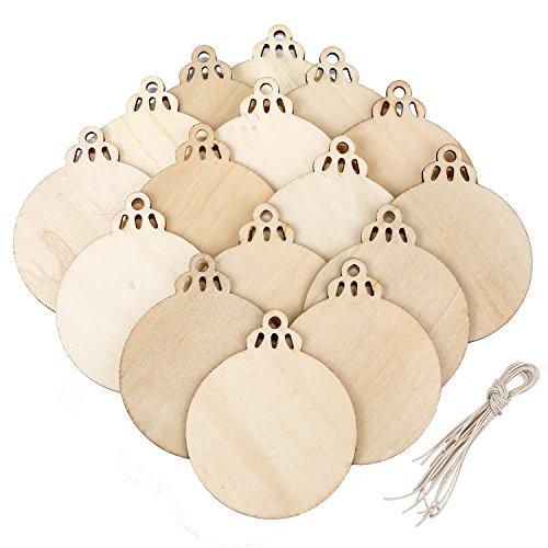 20 pezzi legno bauble rotonda ornamenti in legno vuoto albero di natale pendenti ornamenti per decorazione di festa e fai da te mestiere fabbricazione