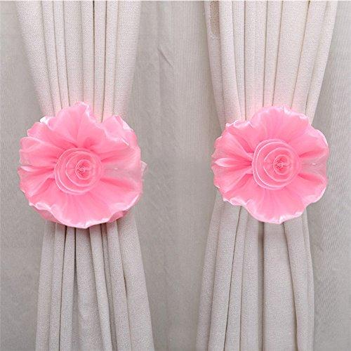 Hukz Nette Fensterabdeckung Moskitonetzschnalle südkoreanische Garnvorhangschnalle,Clip-On Flower Tie Rückseiten/Holdbacks für Voile & Net Vorhangplatten (Pink)