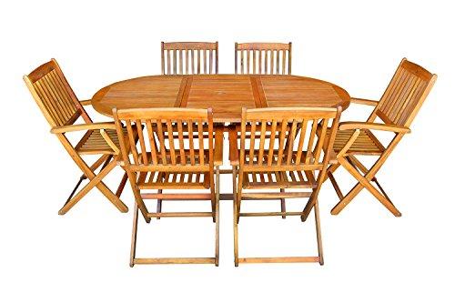 Mcombo 7tlg Gartenset Balkonset Gartentisch Tisch Stuhl Akazienholz