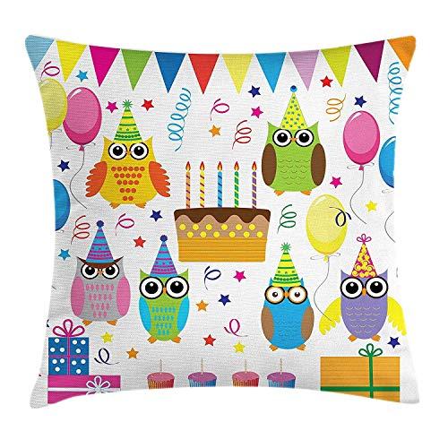ugBunte Waldtiere erfasst für Geburtstagsfeier-Ballon-Kuchen und Stern-Karikatur Pillow Cushion Cover Pillowcase,45x45 cm ()