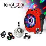 KoolStar mobiler Karaoke-Lautsprecher, rot, RGB-LED, USB/Bluetooth, kabelgebundenes Mikrofon, Lichtspiel für Partys, Kinder