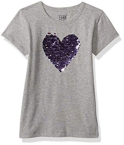 LOOK by crewcuts Mädchen-T-Shirt mit Pailletten, graues Herz, 12