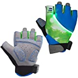 Auchee LED Blinkerhandschuhe   Waschbar   Batterie austauschbar   Stoßdämpfende SBR-Pad   Silica Gel Grip   Breathable Lycra Half Finger Handschuhe für BMX Mountain Bicycle Bike Road Racing