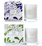 Duftkerzen im Glas 2er Set Jasmin & Lavendel 100% Sojawachs Kerzen Windlichter Geschenk je 230g 55Std