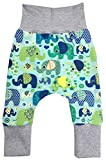Wollhuhn ÖKO Lässige Babyhose ELEFANTEN blau/grün für Jungen und Mädchen (aus Öko-Stoffen, bio), 20180505, Größe: 80