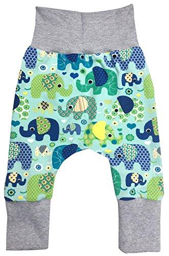 Wollhuhn Pantalón - para bebé niño Elefanten Blau/Grün 62