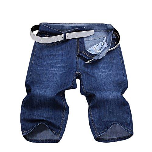 Yonglan Mens Cool Summer Skinny Shorts Jeans Shorts Knee Length Teens Washed Demin Jeans Half Pants Slim Leg Shorts