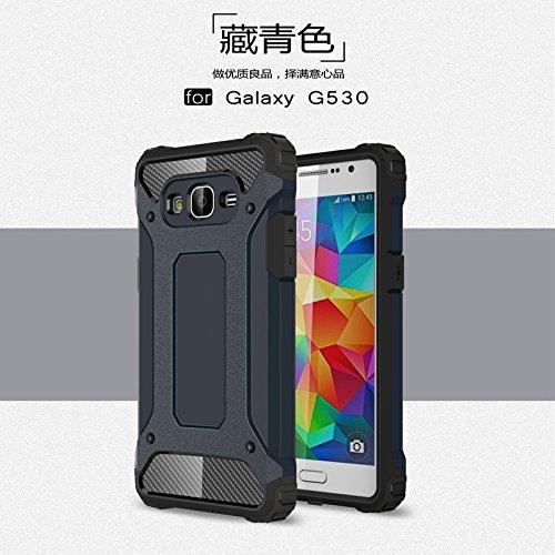 JINXIUCASE Handyhülle Fall, Galaxy G530 Case, Dual Layer Heavy Duty Hybrid Armor Tough Style Shockproof PC + TPU Schutzhülle für Samsung Galaxy Grand Prime G530 (Farbe : Marine)