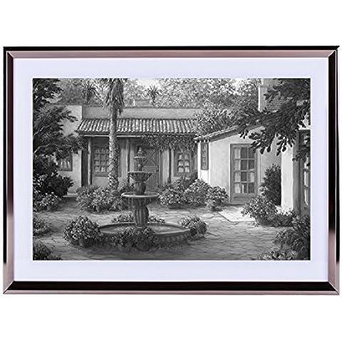 Patio de tucán–Póster para la pared Silvery madera enmarcada 16x 12pulgadas, color blanco y