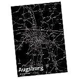 Mr. & Mrs. Panda Postkarte Stadt Augsburg Stadt Black - Stadt Dorf Karte Landkarte Map Stadtplan Postkarte, Postkarten, Einladungskarte, Geschenkkarte, Brief, Spruch des Tages, Kärtchen, Geschenk, Karte, Papier, Einladung, Fan, Fanartikel, Souvenir, Andenken, Fanclub, Stadt, Mitbringsel