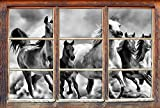 Monocrome, Western Pferde in Wüste mit Fohlen Fenster im 3D-Look, Wand- oder Türaufkleber Format: 92x62cm, Wandsticker, Wandtattoo, Wanddekoration