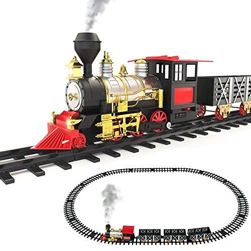 BAKAJI Pista Trenino Giocattolo Bambini Treno Locomotiva con Fumo Luce Suoni e 3 Vagoni Adatto Anche Come Decorazione Natalizia per Base Albero di Natale