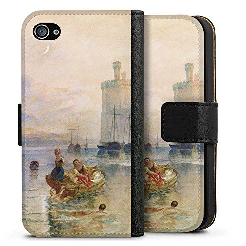 Apple iPhone X Silikon Hülle Case Schutzhülle Carnarvon Castle Wales Kunst Sideflip Tasche schwarz