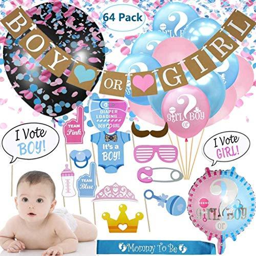 Amycute 64 Stück Baby Party Deko Mädchen Junge Oh Baby Deko,Geschlecht Reveal Ballon, Rosa Blaue und Schwarz Konfetti Ballons, Banner, Foto Requisiten,Baby Deko.