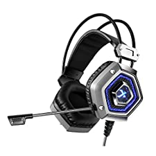 XIBERIA X13 Gaming Headset Stereo Sound Wired USB Over Ear Headphones with Microphone Noise Isolating Volume Control LED Light Metal Head Beam For PS4 Laptop Computer Smart Phone
