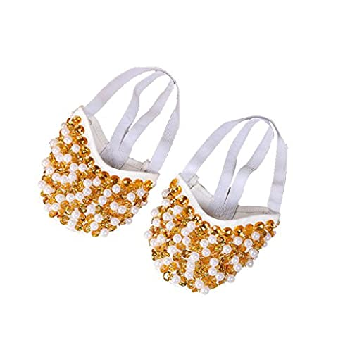 Byjia Belly Ballet Dance Shoes Costume Gift For Big Party Noël Pearl Demi-Forme Physique . Gold . S/34~35