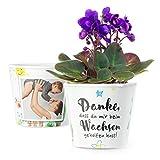 MyFacepot Blumentopf (ø16cm) | Geschenk für Erzieherin im Kindergarten, mit Rahmen für 2 Fotos...