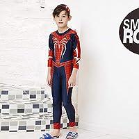 JLWF Bañador para Niños Pantalones De Manga Larga Siameses Spider-Man Protector Solar De Secado Rápido Traje De Baño Cálido Spiderman Black-L