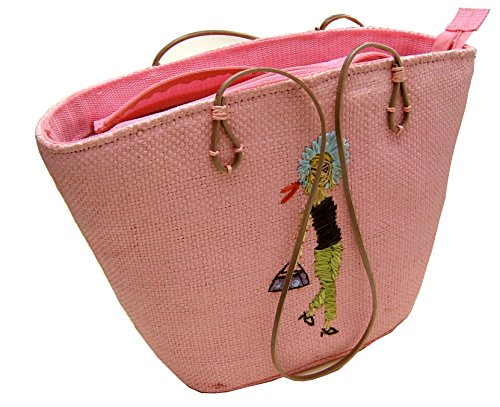 Bast-shopper (APART Fashion Shopper Basttasche Damentasche Strohtasche Schultertasche ROSA-PINK)