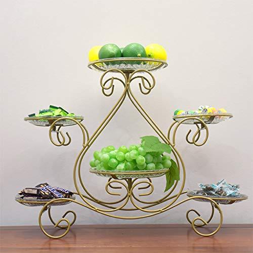 PLL Europäischen Stil mehrschichtige Goldene Obstteller Kuchen Rack Hause Süßigkeit Getrocknete Früchte Snack-Fach Rack Eisen Kunst Obstteller (Geschenk-körbe, Getrocknete Früchte)