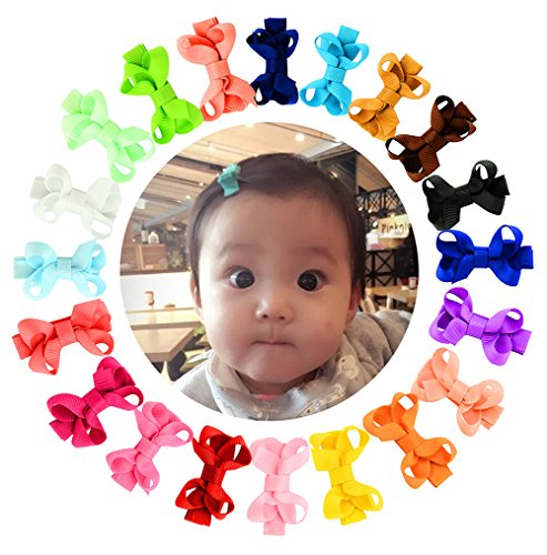 YHXX YLEN 20 Pcs Baby Girls Hair Bows Grosgrain Ribbon Clips Hairpin Barrettes for Infant Toddlers Kids