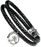 Lufetti Armband Buchstabe Lederarmband mit Initialen Auswahl A bis Z Edelstahl Verschluß Leder schwarz 20cm (A)