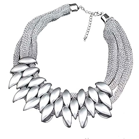 Vincenza Fashion Ladies Women's Exaggeration Gold Silver Black Tone Bib Chunky Statement Collar Necklace (SILVER)