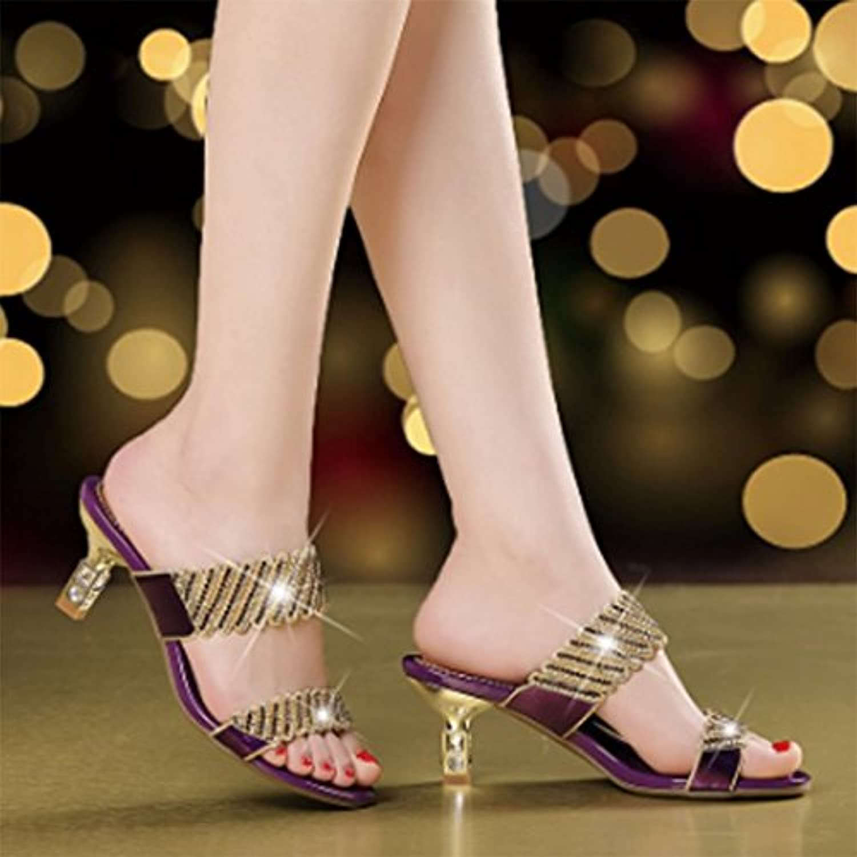 SCLOTHS Tongs Femme Chaussures Open Open Open d'été toe talons moyens avec fine de diaFemmets artificielsB07D37RQJ4Parent 8f1d46