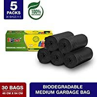 Ezee Bio-degradable Medium Garbage Bags/Trash Bags/Dustbin Bags (19 X 21 Inches) Pack of 5 (150 Pieces) 30 Pcs Each Pack