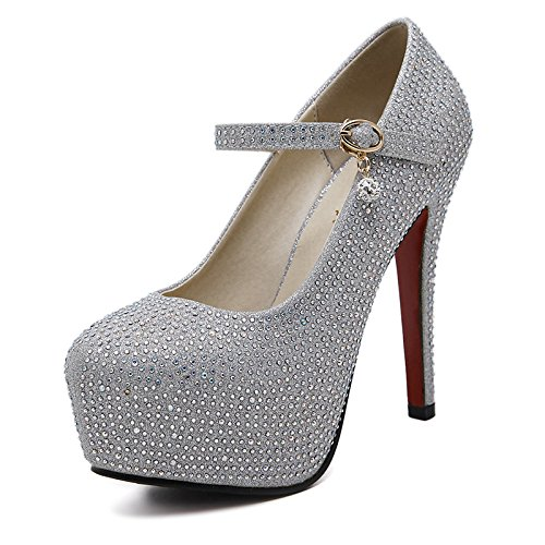 DIMAOL Scarpe Donna PU Primavera Cadono Comfort Tacchi Stiletto Heel Round Toe per Ufficio Outdoor & Carriera Argento Argento