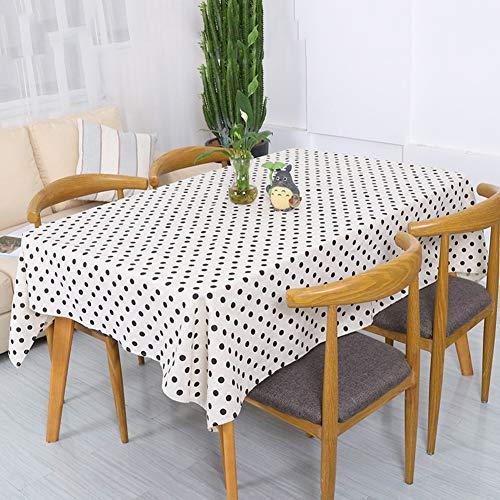 XDLUK Tischdecke Baumwolle Leinen Rechteckiges Modern Simple Tischtuch Fleckenschutz Abwaschbare Tischwäsche Schwarz Gepunktet Muster, Weiß,120x160cm