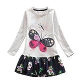 VIKITA Mädchen Blumen Langarm Baumwolle Kleid 2-8 Jahre LH5460Grau 7T