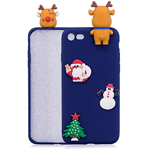iPhone 7 Hülle, Iphone 7 Hülle Silikon, 7 Hülle Case, SpiritSun Handyhülle Iphone7/8 plus Etui Protective Case Cover TPU Silikon Softcae Fall Backcover Case Handy Schutzhülle Slimcase Motiv Weihnachte Blauer Bär