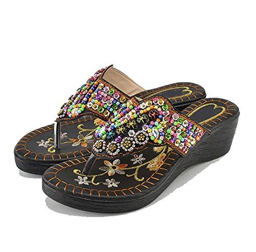 Ajzgf estate, il nuovo stile indossa sandali piatti, e la spiaggia è antiscivolo sandali etnici freschi e pantofole. (colore : nero, dimensioni : 38(uk6)(240mm))
