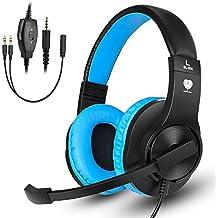 Samoleus Auriculares Cascos Gaming de Diadema con Micrófono de Cancelación de Ruido y 3,5mm Estéreo Control Volumen para PS4, Xbox one, PC, Nintendo Switch y Cell Phone (Azul negro)