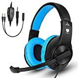 TR Turn Raise Cuffie Gaming PS4, Wired Cuffie da Gaming con Microfono per PC, Xbox One, Playstation 4 (Blu)