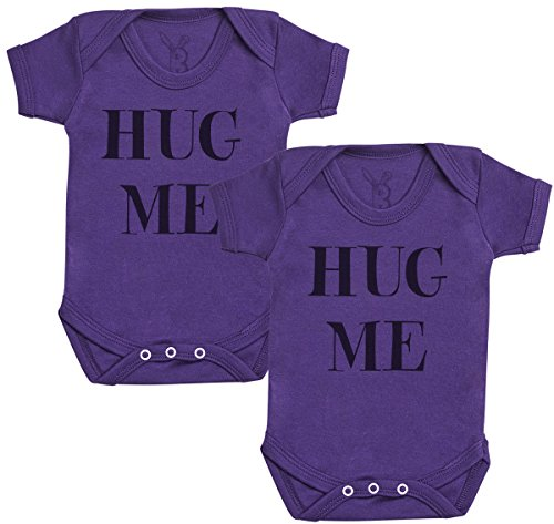 Baby Bunny Hug Me Twins Regalo para Gemelos bebé, Body para Gemelos bebé niño, Body para Gemelos bebé niña - 6-12 Meses Morado