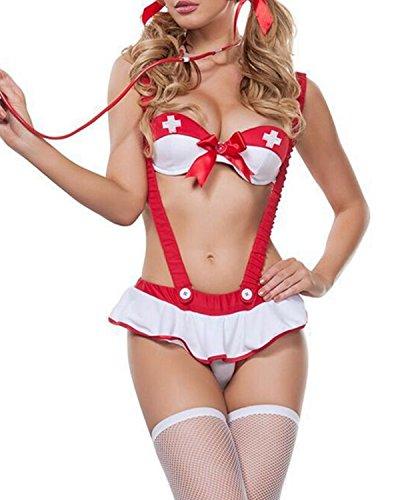 Aeneontrue Damen Krankenschwester Nurse Kostüm Uniform Sexy Dessous Set Reizwäsche Lingerie Nachtwäsche Cosplay Club Wear BH Bügelkleid Halloween