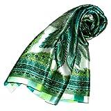 LORENZO CANA Luxus Damen Seidentuch aufwändig bedruckt Tuch 100% Seide 100 cm x 100 cm Damentuch gruen weiss 89090