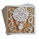JinSu 20 Stuck Hochzeit Einladungskarten Laser Geschnittene Hochzeitsparty Mit Bedruckbaren Papier Und Umschlage Fur