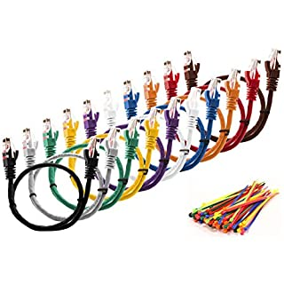 Multi-cable 10 pack multi coloured Cat5e cables - 3 meter - UTP - CCA + 100 cable ties