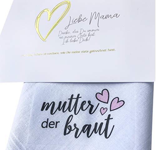 Brautmutter Taschentuch Geschenk -> RUBBELKARTE dabei- Stofftaschentuch für Freudentränen, Mutter der Braut, Mama (Brautmutter) (Mutter Braut-taschentuch Der)