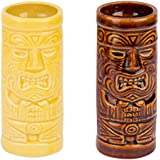 Neoma Ceramic Tiki Mug Set Of 2-Tiki Tumblers Party Mugs Glasses, Beer Mug/glass, Tiki Sculptural Table Mug, Tiki Island Mugs, 250 Ml, Brown & Yellow