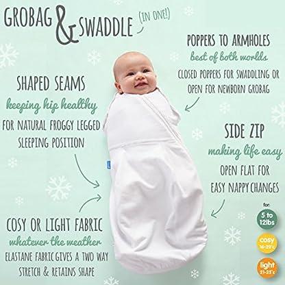 51LJXsOQciL. SS416  - The Gro Company - Saco de dormir cómodo y caliente para recién nacido/envoltura (de 2,3 a 5,4 kg, color gris marga/acogedor) multicolor multicolor Talla:Newborn 5-12 lbs