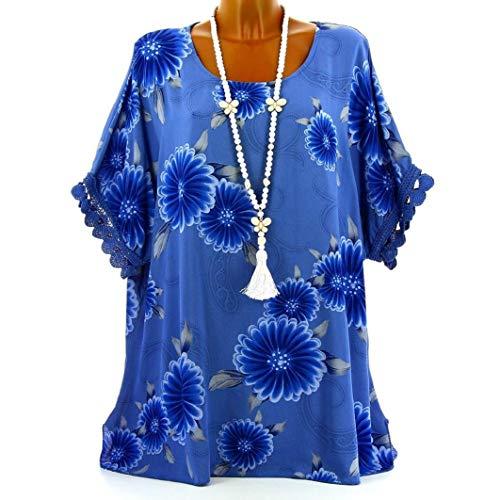 Subfamily® Frauen Plus Größe Halbarm Blütenspitze Print O-Ausschnitt -