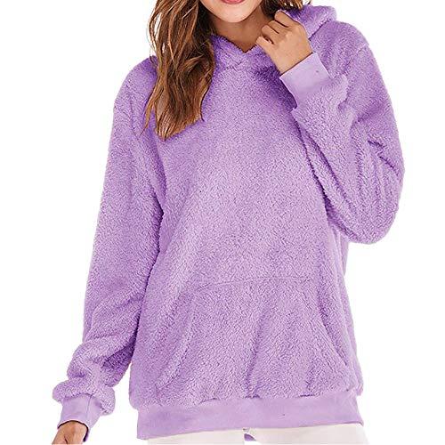 (YWLINK Damen Kordelzug Winter Weich Warme Sweatshirt Kapuzenpulli Pullover Falsch Wolle Mantel Frauen Outwear (EU:44/CN:XL,Lila))