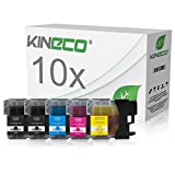 Kineco 10 Tintenpatronen Brother LC-1100 / LC-980 kompatibel für Brother MFC-250C MFC-255 MFC290C MFC-295CN MFC795CW DPC-165C DCP-J715W - Schwarz je 25 ml, Color je 15ml