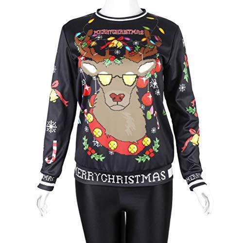 YUFAA Unisex 3D Print Ugly Christmas Sweater Pullover mit Rundhalsausschnitt Funny Glitter Lights für Männer, Frauen Strickpullis (Color : Schwarz, Size : M)