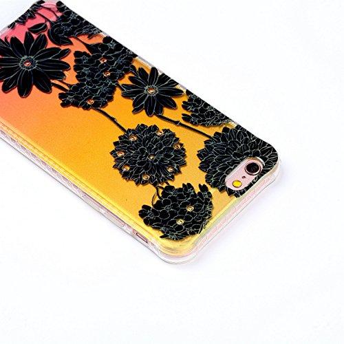 Felfy Silicone Coque pour iPhone 6S Plus,iPhone 6 Plus Case Original,iPhone 6S Plus Coque Noir Ultra Mince Extra Slim Etui Fleur Colorés Motif Relief Design Flex Soft Gel TPU Silicone Caoutchouc Etui  Noir Daisy