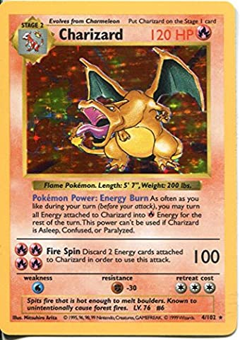 Pokemon Base Set Shadowless Holofoil Card #4/102 Charizard